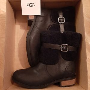 Brand New Ugg Leather Sherling Black Boots 10